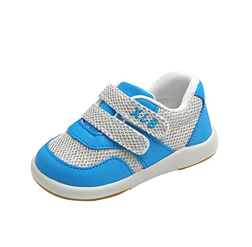 Kuner Baby Girls Boys Cotton Breathable Rubber Sole Non-Slip Sneakers First Walkers Shoes (18(Inside length-13.6cm)(21-24months), Blue-2) by Kuner