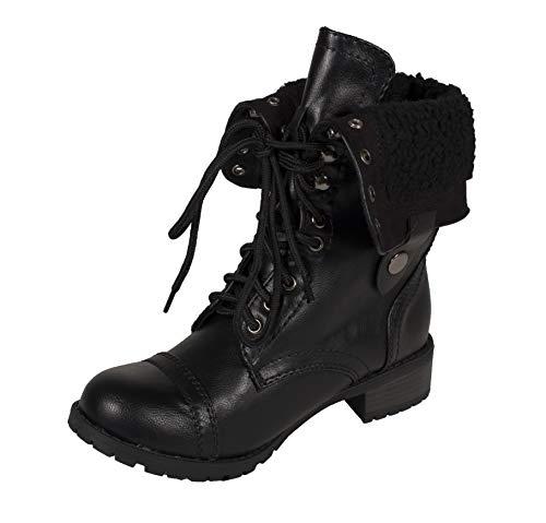 SODA Lustacious Women's Mid-Calf Lace Up Military Combat Fol