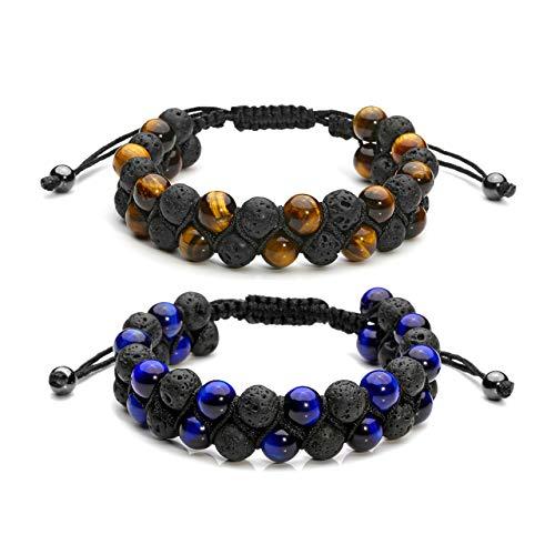 Top Plaza 2 Pcs Men Women 8mm Lava Rock Stone Aromatherapy Essential Oil Diffuser Bracelet Braided Rope Natural Stone Yoga Beads Bracelets - Tiger Eye