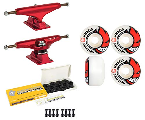Independent Skateboard Trucks 144 Red 52mm Bighead Spitfire Wheels, Bearings