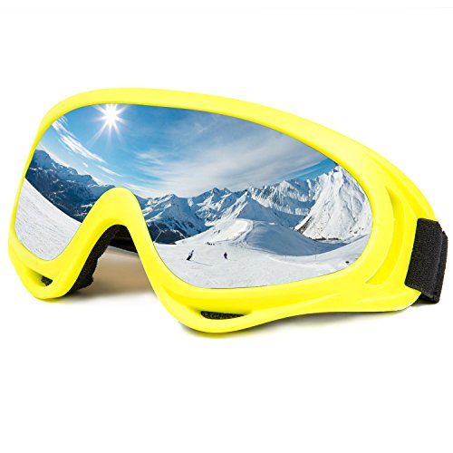 Ski Goggles Snowboard Adjustable UV Protective Motorcycle Goggles Outdoor Tactical Glasses Dust-proof Protective Combat Goggles Military Sunglasses Outdoor Activities Protective Glasses yellow color