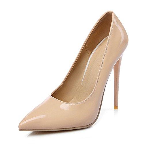 Shoe'N Tale Women Stiletto Heel Pumps Slip On High Heels Pointed Toe Wedding Party Shoes (5 B(M) US, Nude)