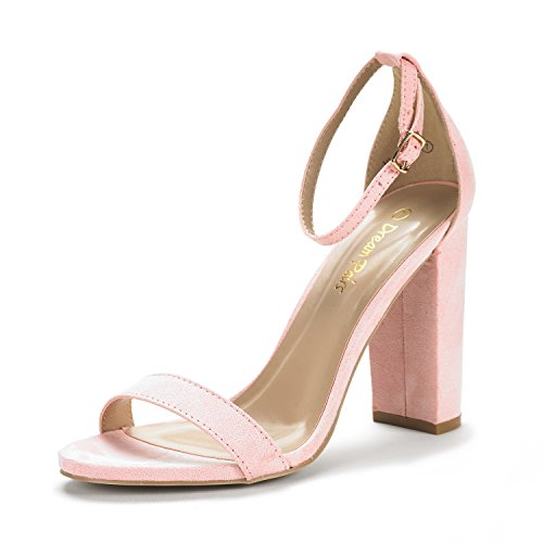 Pink DREAM CHUNK Suede HI Sandals Women's Pumps Open Evening PAIRS High Toe Stiletto Heel Ankle Dress Wedding Chunky Strap New HnxUw5xqEF