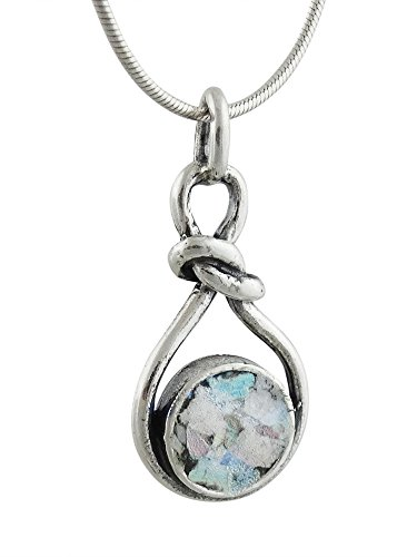 Chain Silver Sterling Glass Roman (Sterling Silver Ancient Roman Glass Infinity Knot Pendant Necklace, 18