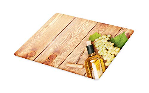 (Ambesonne Winery Cutting Board, Wine Bottle and Bunch of Grapes on Wooden Table Background Romantic Italian Dinner, Decorative Tempered Glass Cutting and Serving Board, Large Size, Green Brown )