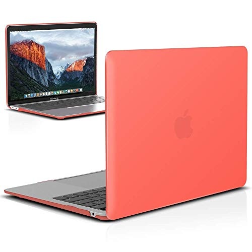 IBENZER MacBook Air 13 Inch Case 2020 2019 2018 New Version A1932, Hard Shell Case Cover for Apple Mac Air 13 Retina with Touch ID, Coral Orange, MMA-T13LCOR