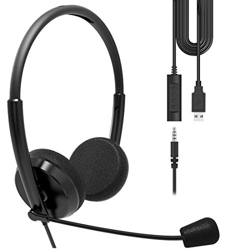 Geekria USB Headset with Mic and Mute Option, Wired Headphone for PC, Laptop, Tablet, Computer Headset with Noise Cancelling Microphone, All Day Comfort for Meetings, Call Center, School (Black)
