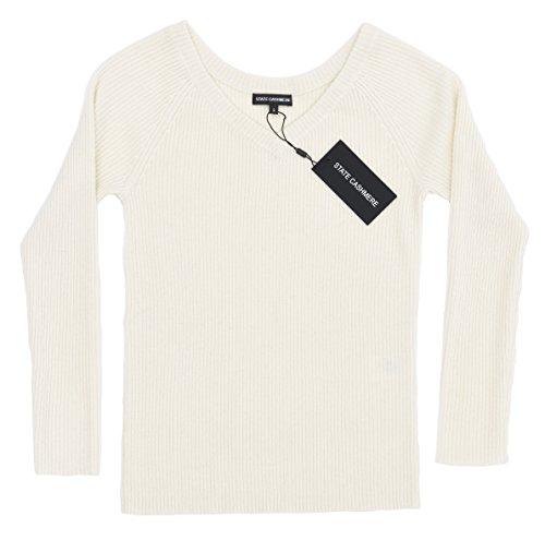 Scollo Profondo Manica Pullover Cashmere Cashmere 4 100 3 A Donna Avorio a State Puro 8Yq0wHzz