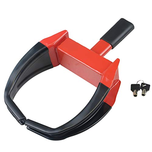 OKLEAD Heavy Duty Wheel Clamp Lock - Security Tire Lock Claw Boot for Trailers Boats Atv's Motorcycles Campers Black/Red 2 Keys