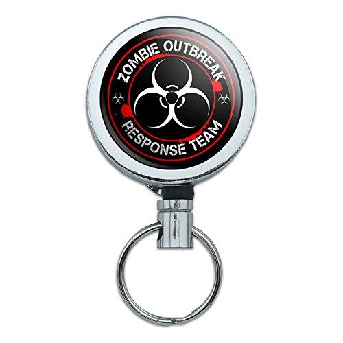 Retractable Reel Belt Clip ID Badge Key Holder Zombie Outbreak Response Team Symbol - Biohazard Red (Zombie Badge Reel)