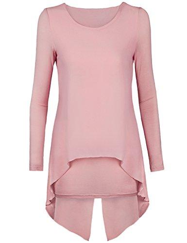 Shirt Dress,Timeson Womens Long Sleeve Layered Irregular Hem Faux Twinset Chiffon T-shirt (Large, Pink)