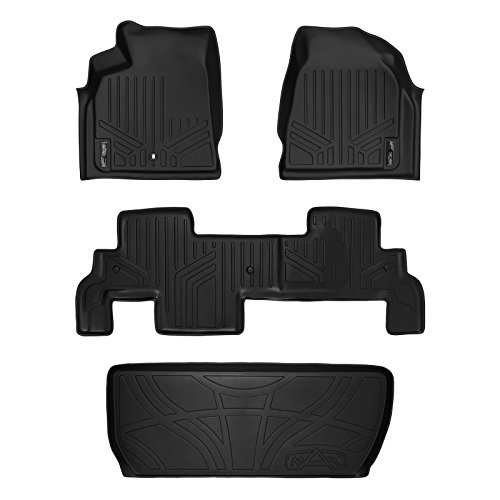 SMARTLINER Floor Mats (2 Rows) and Cargo Liner Behind 3rd Row Set Black for Traverse/Enclave with 2nd Row Bench Seat