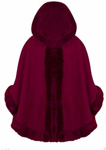 donna Wine a pelliccia maniche da con FK cardigan mantello Celebrity Inspired styles ¾ poncho cappuccio 4qwngEZp