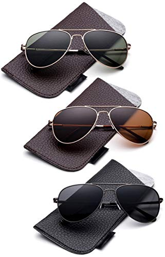 - Newbee Fashion-Polarized Kids Teens Juniors Aviator Polarized Sunglasses Stainless Steel Frame Spring Hinge Kids Polarized Sunglasses for Girls & Boys UV Protection with Carrying Pouch