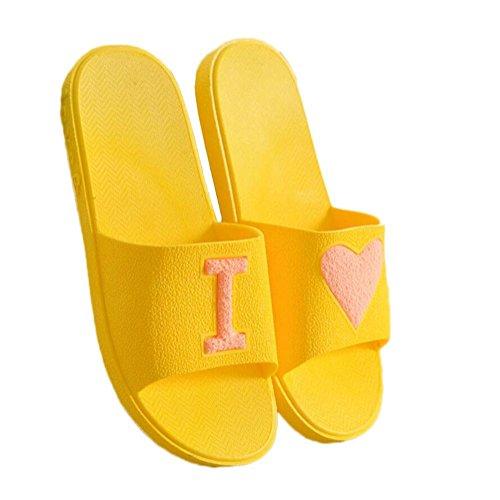 Chancletas Spring Summer Unisex House Slipper Casual Antideslizante Zapatillas de baño Sandalia suave y ligera Zapatillas de interior Pareja al aire libre yellow