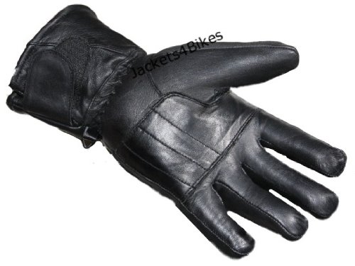 NEW THINSULATE MOTORCYCLE LEATHER FULL GLOVES BLACK L