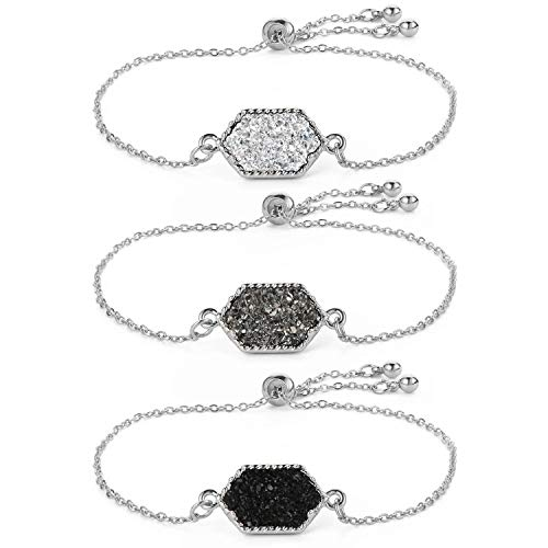 Women Girls Link Bracelet Silver Gold Plated in Faux Druzy Stone Sparkly Hexagon Quartz Adjustable Bracelet Set (Silver Set-Black/Gray/White)
