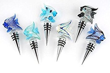 StealStreet SS-UG-KA-2846Z, Angelfish Design Wine Glass Bottle Stopper Top Cork Plug Screw Silver