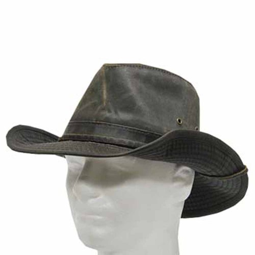 (Indy Weathered Cotton Shapable Outback Hat with Chin Cord BLACK 7 1/2)