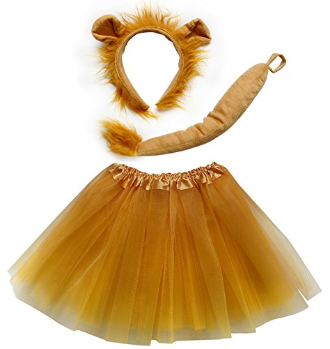 So Sydney Kids Teen Adult Plus Tutu Skirt, Ears, Tail Headband Costume Halloween Outfit (M (Kid Size), Lion Gold & Brown)