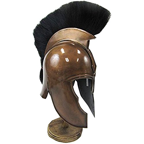 [Steel Copper-colored Trojan Helmet w/ Black Crest - Wearable Costume Armor] (Trojan Man Costumes)