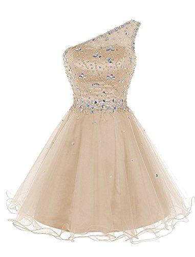 One Kleid Abendkleid Crystal Dresses Homecoming Women's Shoulder Champagne Kurz Fanciest Clover qtzwSRWC