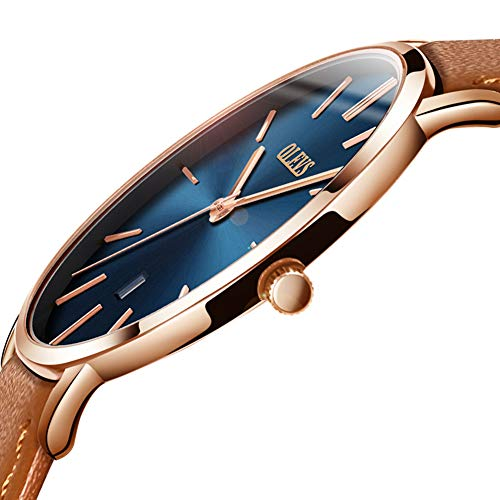 (Ultra Thin Men's Watch Genuine Leather Strap Simple Mens Watch Waterproof with Calendar Japan Movement Analog Quartz Watch for Men Fashion Blue/White/Black Big Dial Business Casual Wrist Watches)
