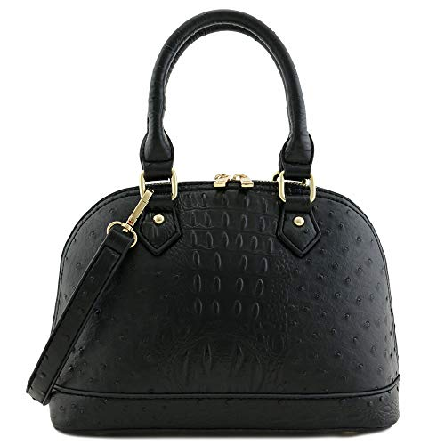 Zip-Around Classic Dome Satchel (Ostrich Black)