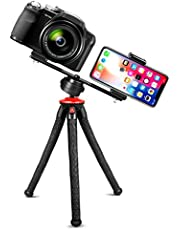 """Fotopro Flexible Phone Tripod, Camera Tripod with Dual 1/4"""" Screw & Bluetooth Remote Control & Smartphone Mount for iPhone, DSLR, Samsung, Huawei"""