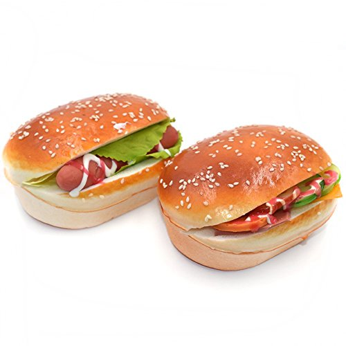 DLUcraft Fake Cake Artificial Jumbo Sesame Bread Scent Hamburger Toy Refrigeratort Office Whiteboard Kids Locker Door Decorations Gifts For Home Decor(Bacon Hamburger+Hot Dog Hamburger-2 PCS