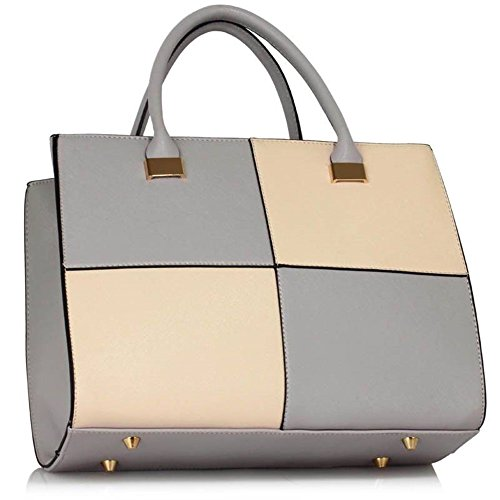 NUDE XL 153 Bag Designer Women's Bags Large Faux Shoulder Check Large Genuine LeahWard Leather Tote GREY 7nZTOxqga