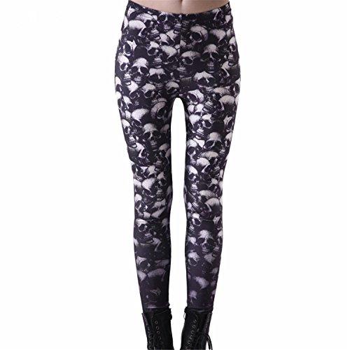 GUANGXINNI 3D print Womens Pirate Costume Pants Digital Printing Fun Skulls Leggings