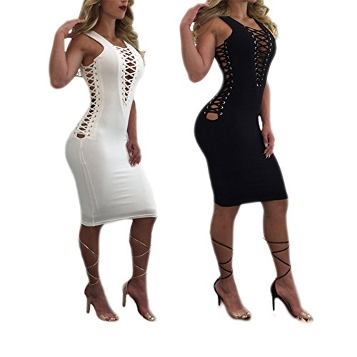 Women's Girls Sexy Deep V-neck Lace Up Sleeveless Hollow Out Bodycon Bandage Party Club Midi Dress White L