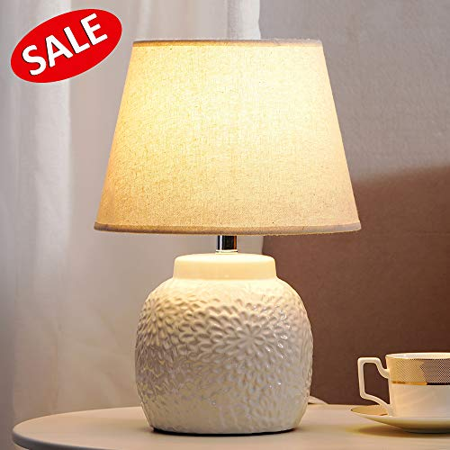 (Cuaulans White Ceramic Table Lamp, 15'' High, Beige Fabric Shade Table Lamps, Ceramic Lamp With Pattern)