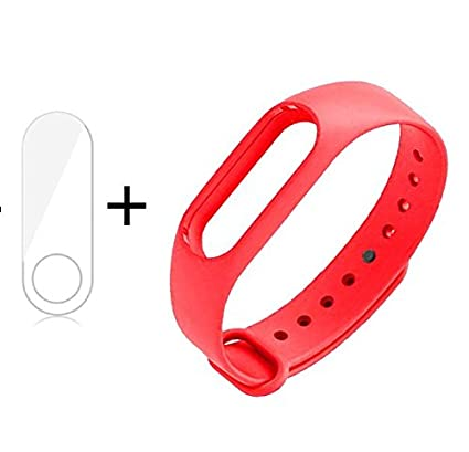 invella Thermoplastic Polyurethane Mi Band 2 HRX Replacement Belt/Strap  with Screen Guard (Pinkish Red)