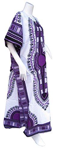 Women's Purple Long Dashiki Dress (RaanPahMuang Brand Full One Piece Long Afrikan White Dashiki Sac Dress, X-Large, White with Purple)