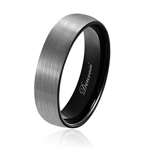 Denvosi Men Wedding Band Tungsten Ring 6MM Mate Brushed Black Surface High...