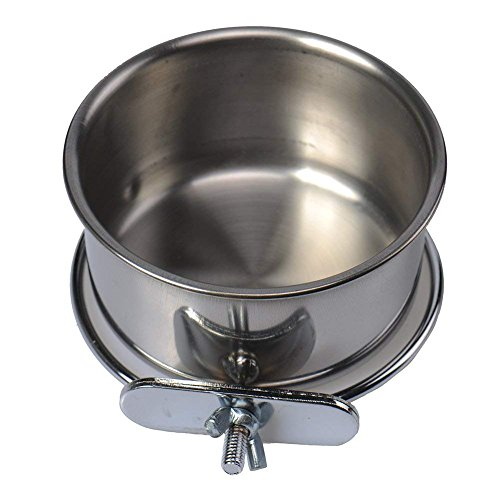 chendongdong BOLT ON CAGE BOWL Coop Cup, Clamp Dog Dish for Crate Stainless Steel Pet Bird (Bolt Clamp Coop Cups)