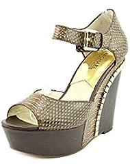 Michael Kors Ella Wedge Printed Leather Sandals