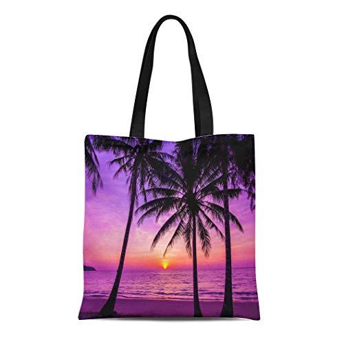 - Semtomn Canvas Tote Bag Shoulder Bags Colorful Purple Beach Palm Trees Silhouette at Sunset Black Women's Handle Shoulder Tote Shopper Handbag
