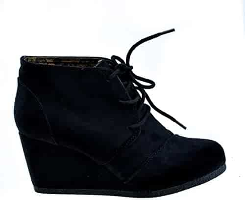 e82144be077 Lace up Oxford Ankle Bootie Round Toe High Hidden Wedge Heel Women s Shoe