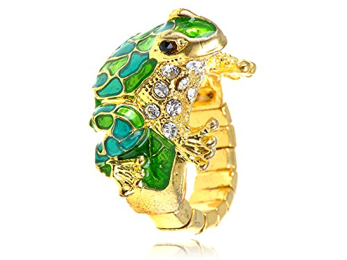 Alilang Golden Tone Toad Cute Frog Enamel Green Blue Painted Crystal Rhinestone Sized Ring