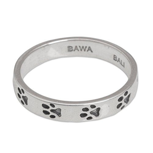 NOVICA .925 Sterling Silver Band Ring with Dog Paw Prints, Paw Prints' ()