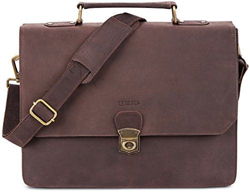 LEABAGS Brandon genuine buffalo leather briefcase in vintage style - Nutmeg by LEABAGS