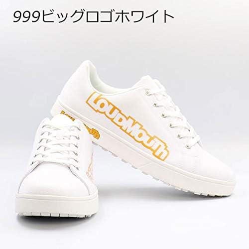 メンズ スパイクレス ゴルフ シューズ カジュアル キャンバス地 Loudmouth LM-GS0002 / 999ビッグロゴホワイト24.5