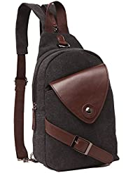 ZUOLUNDUO Mini Backpack Casual Canvas Chest Bag Sling Shoulder Bag Rucksack
