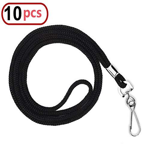 10pcs Black Cotton Lanyard Bulk Clip Swivel Hook 20.5-inch Neck Woven Badge Lanyards with Clips Black Lanyards for id Badges(Black)