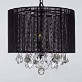 Crystal Chandelier Chandeliers With Large Black Shade! H15″ x W15″ SWAG PLUG IN-CHANDELIER W/ 14′ FEET OF HANGING CHAIN AND WIRE!