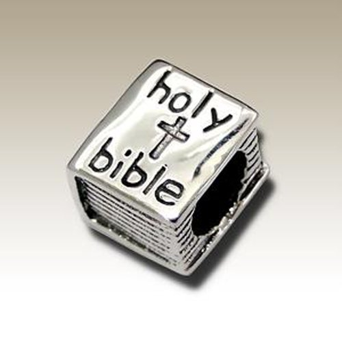 Sterling Silver Bible Charm - Bible Bead 925 Sterling Silver for Charm Bracelets (E7408)