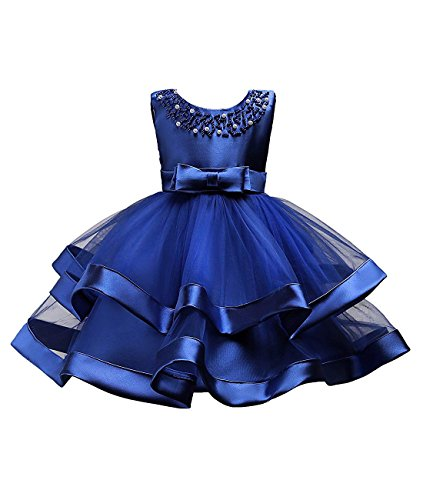 Little Flower Tulle Satin Girls Dresses for Weddings Princess Tulle Ball Gown Tutu Sleeveless Summer Playwear Clothing First Communions Dress Casual Bow Pearl O Neck Size 3 4 Tank (Sapphire Blue, 120) ()